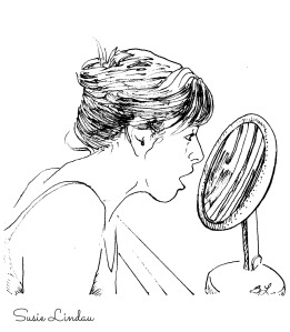 illustration looking in magnifying mirror