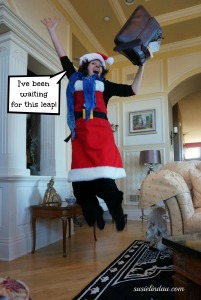 jumping for joy at christmas