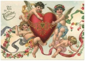 Cupids and heart Valentine