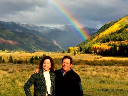 anniversary photo with rainbow