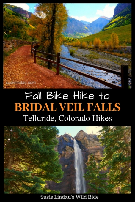 Fall Bike Hike to Bridal Veil Falls in Telluride, Colorado. Click for photos of this beautiful fall hike! Outdoor adventures in the Rocky Mountains, Travel tips and advice, Travel North America, United States, Bucket list, Fall hikes, Beautiful places, Colorado hikes #Colorado #outdooradventures #travel #travelnorthamerica #Telluride
