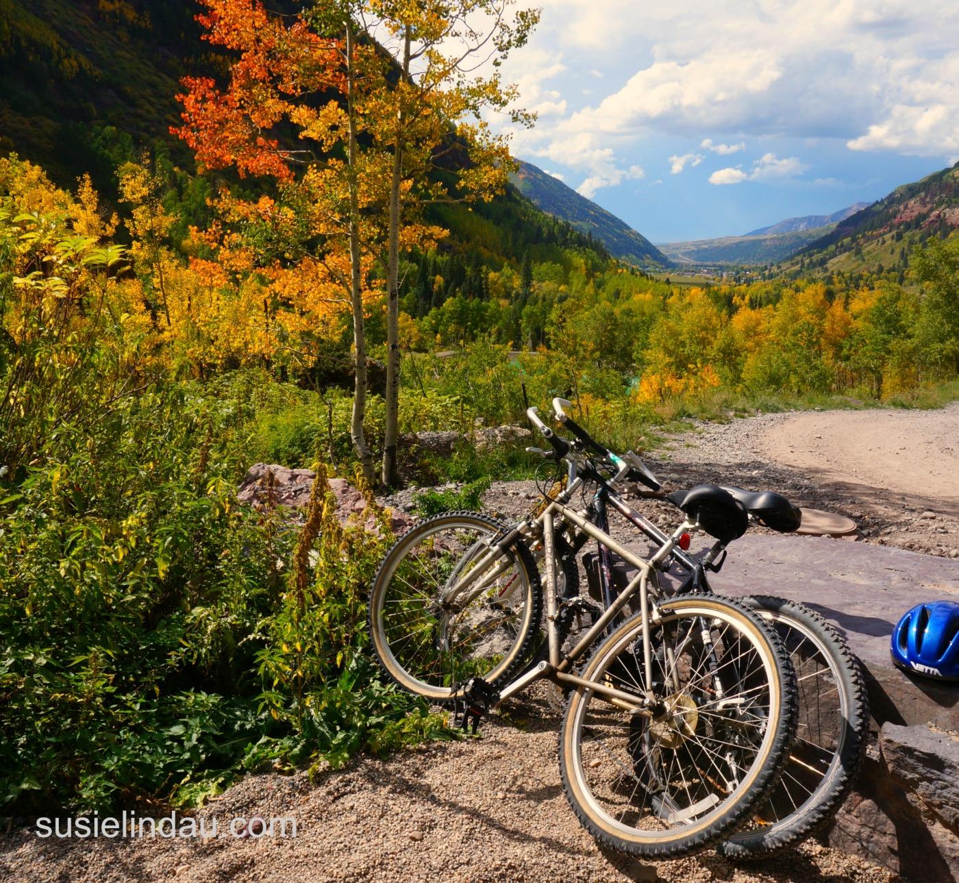 bikes leaning across trail Telluride