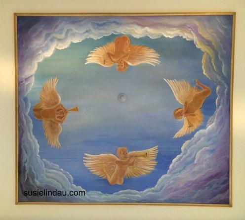 ceiling mural of angels by susie lindau