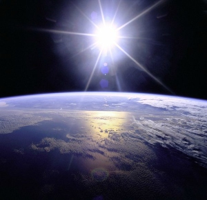 sunburst over earth