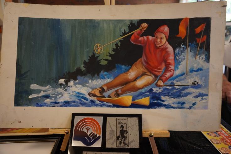 Danny skiing Ed McCartan show card