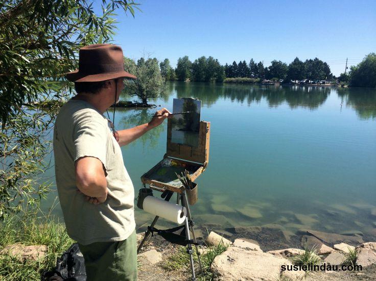 artist at Coot Lake