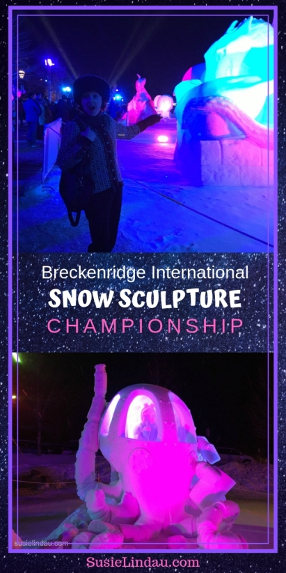 Click for dramatic night photos of Breckenridge Snow Sculptures and links to this years event! Travel Colorado, outdoor adventures, nature, arts, North America #Colorado #snowsculptures #Breckenridge #travel #arts