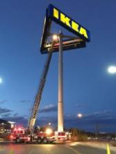 ikea sign and crane