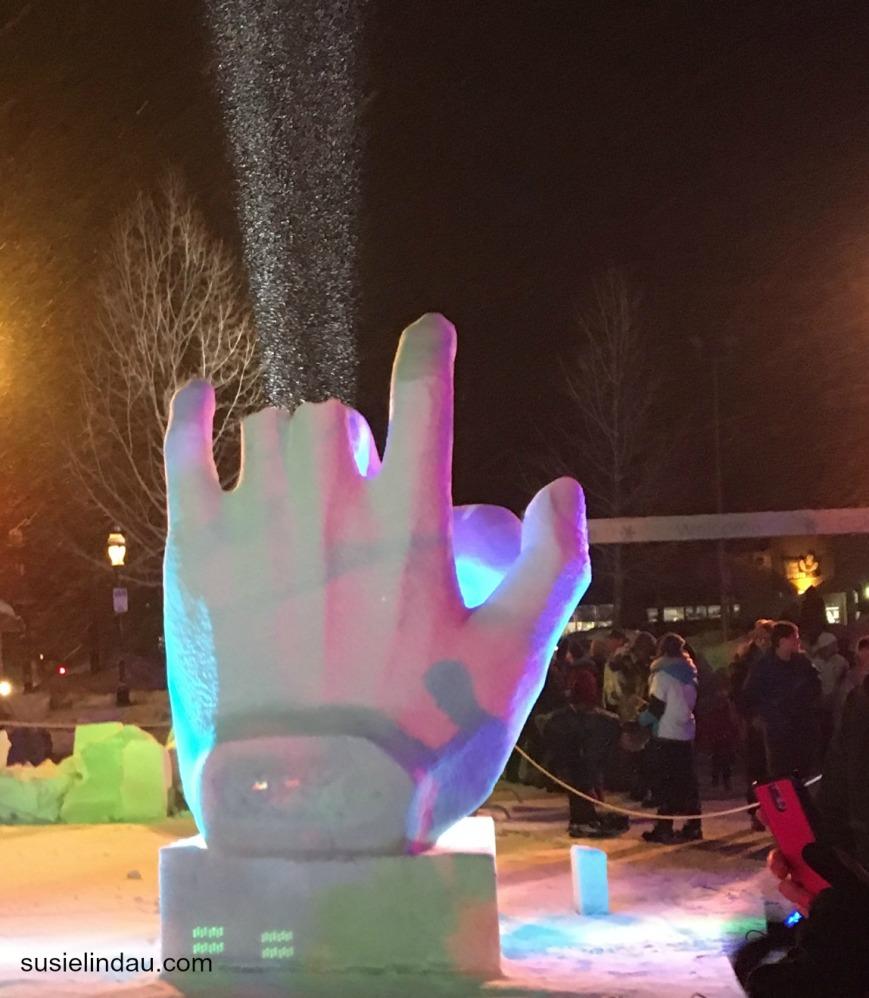 snow sculpture hands