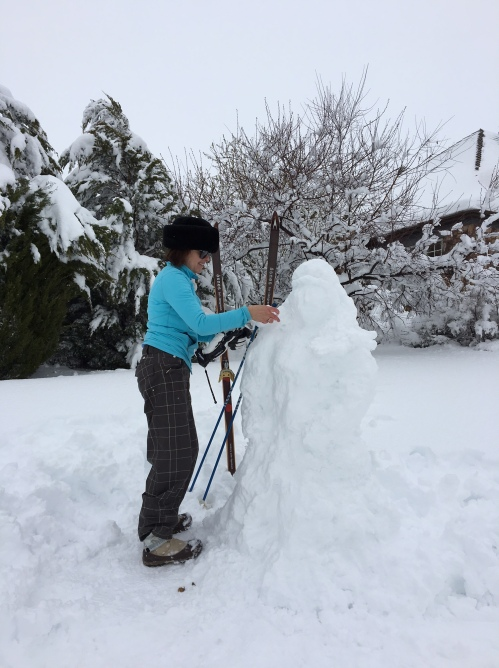 building a snow woman