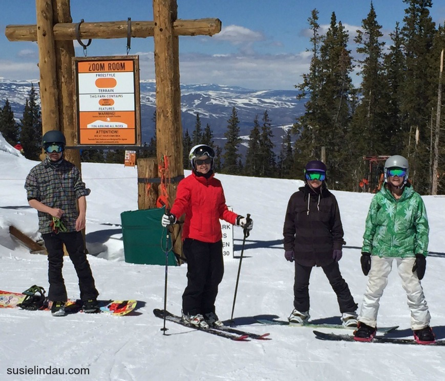 Kelly, Susie, Leksy Wolk, and Courtney Lindau at the entrance to the terrain park