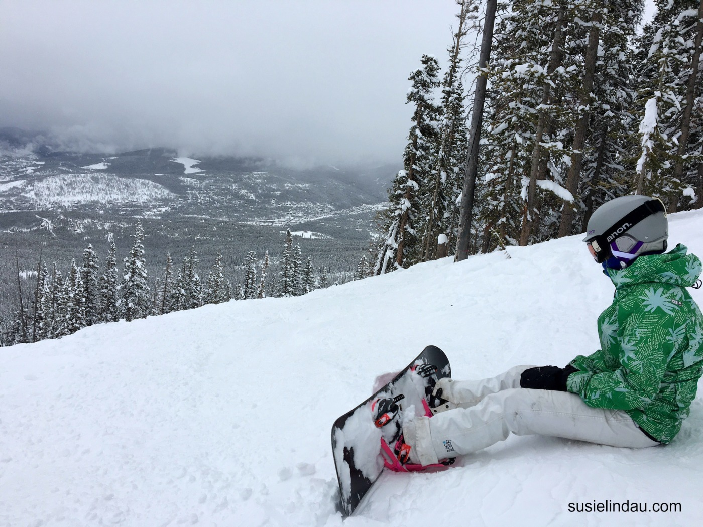 snowboarder Courtney Lindau at Peak 7