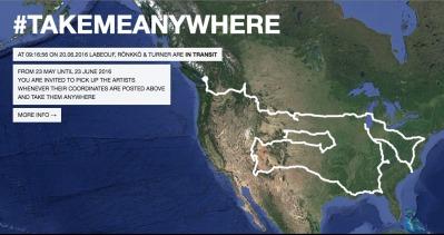 #takemeanywhere hitchhiking map LaBeouf, Turner, Ronkko