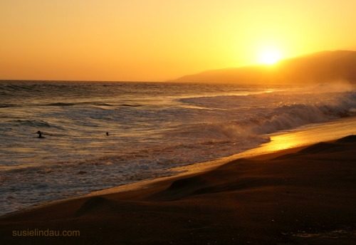 Golden sunset at Malibu Beach