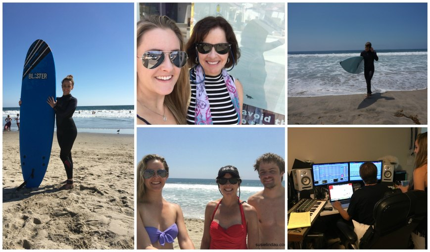 Collage of Lindau family on vacation in Santa Monica