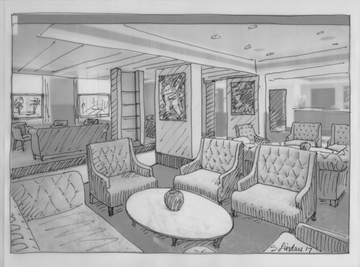 Design ideas for the future including this interior illustration to inspire work station layouts.