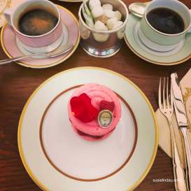 Tea time or in my case, coffee, with a pink macaroon.