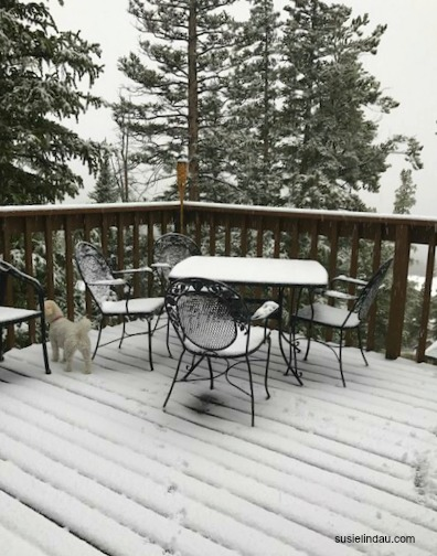September snow on the deck