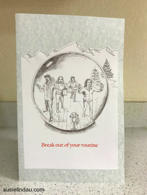 Lindau family trying to break out of their routine in a family Christmas card. Holiday tips and tricks, tips, hacks and diys, Christmas traditions and ideas, illustrations, art #holiday #diys #illustration #traditions #christmascards
