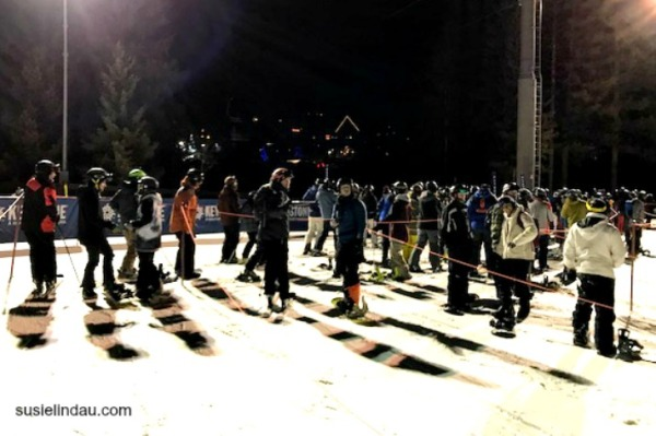 Lift line at Keystone at night.