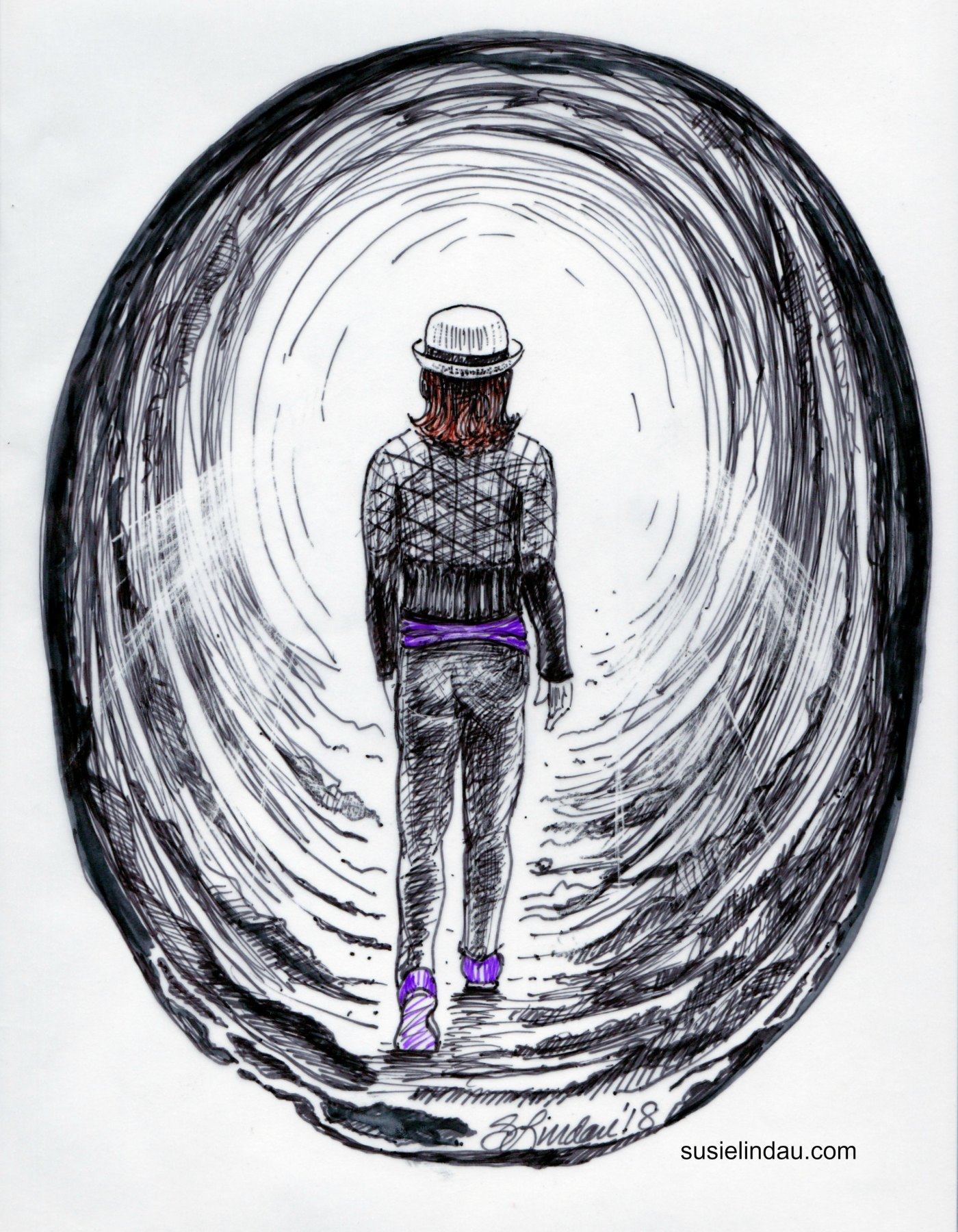 A self-portrait illustration of the light at the end of the tunnel