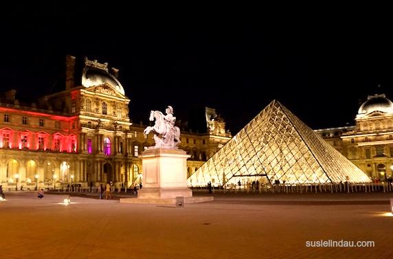 The Louvre lit up at night, Paris architecture