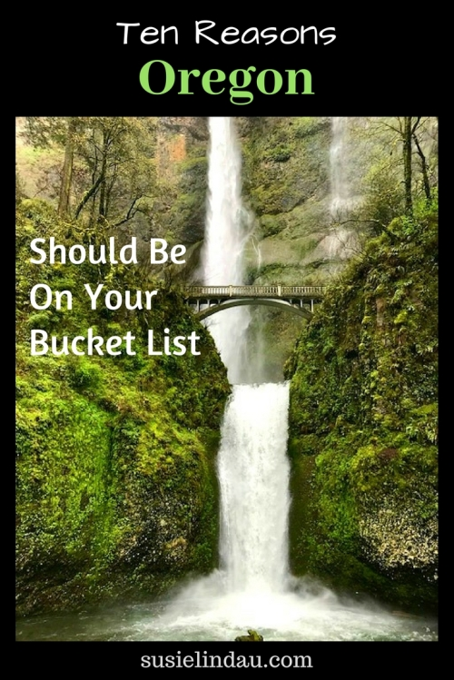 10 reasons Oregon should be on your bucket list, Montnomah Waterfall and bridge Pinterest pin