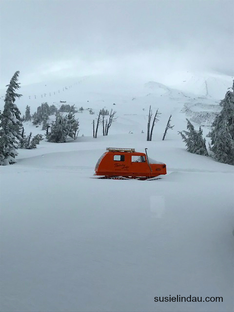 View from the Timberline Lodge of an orange snowcat like the one in The Shining.