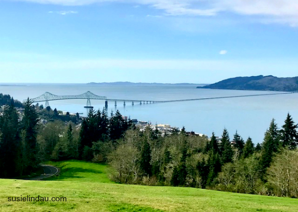 A view of the Astoria-Megler Bridge spanning the Columbia River in Oregon