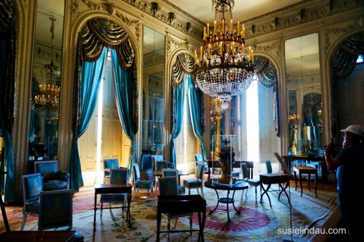 The Best of Versailles - Blue boudoir inside the summer house with mirrors and massive chandelier