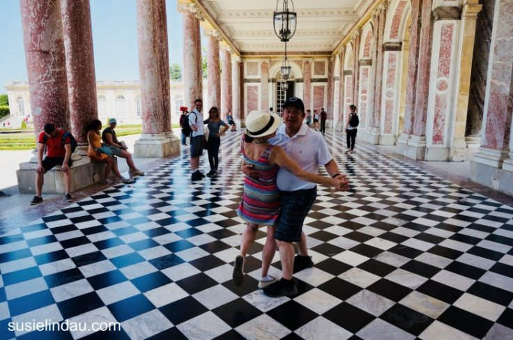 The Best of Versailles, we danced to classical music on a huge veranda in pink marble and black white patterned floor