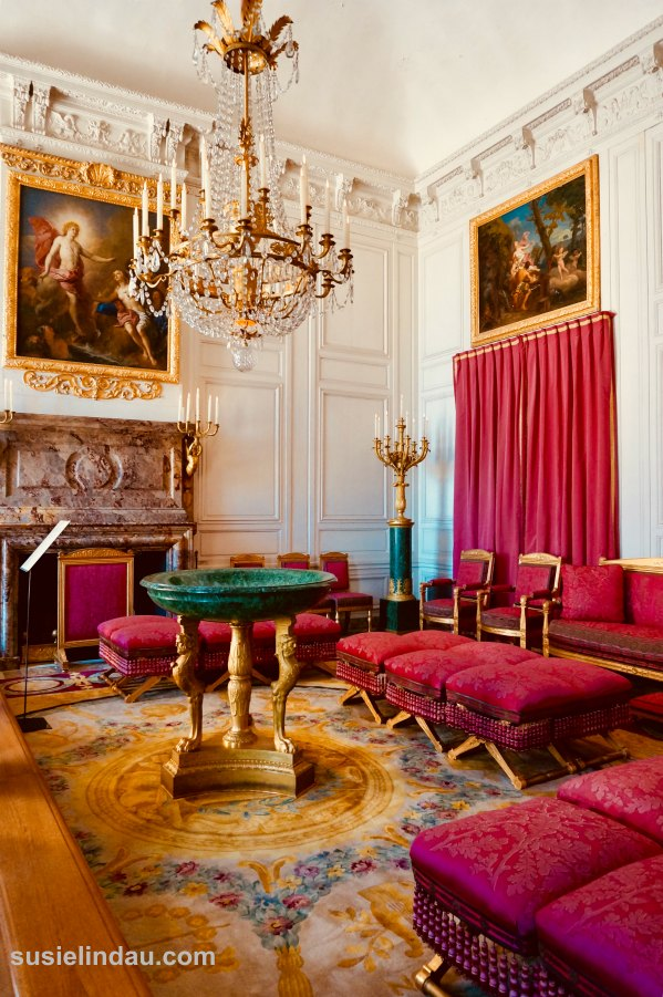 The Best of Versailles, red boudoir and living quarters in summer house