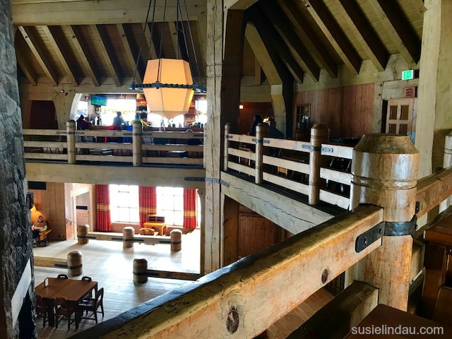Timberline lodge fourth floor view of the bar and wood struts, and railing in Oregon