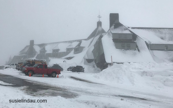 Timberline Lodge from The Shining in a Snowstorm