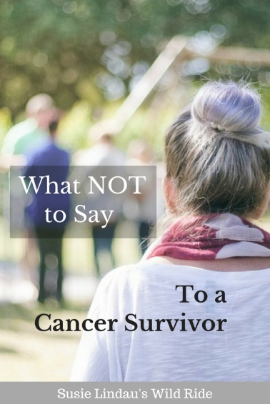 What not to say to a cancer survivor, breast cancer, woman watches group talking, pinerest pin