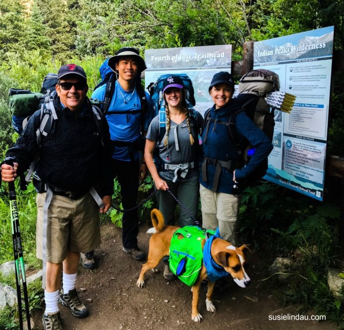 Backpackers start at Fourth of July Trailhead with fun dog.