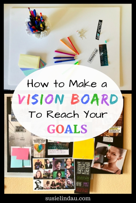 How to create a vision board to reach your goals! Ideas, tips and an example show how it can inspire, motivate, and manifest your dreams. Click to find out how! Personal development, wellness and self care, positivity and motivation Tips, hacks, and DIYs #visionboards #goals #motivation #selfcare #personaldevelopment #goals #