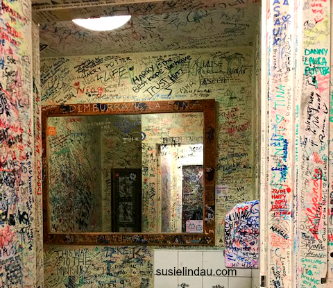 Elephant House Bathroom covered in graffiti by fans thanking JK Rowling. Click for photos of JK Rowling's inspiration! Authors, books, Writing, Travel, Edinburgh, Scotland #Harry Potter #JKRowling #Edinburgh #scotland #travel
