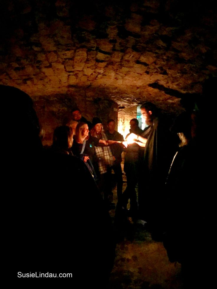 Inside the Edinburgh Vaults with our guide. Click for photographs of this amazing place! Edinburgh vaults, travel Scotland, Travel Europe Destinations, Travel tips, Ghost tours, #traveltips #travelEuropedestinations #travelScotland #travelEdinburgh #Ghosttours