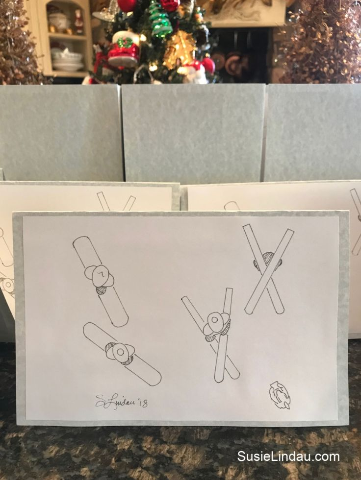 The front of this year's Christmas card. Click to see what we're doing on the inside of the card! Holiday tips and tricks, DIYs, illustrations, crafting, art, Christmas traditions and ideas #illustrations #diy #christmascards #holidaycards #craftideas