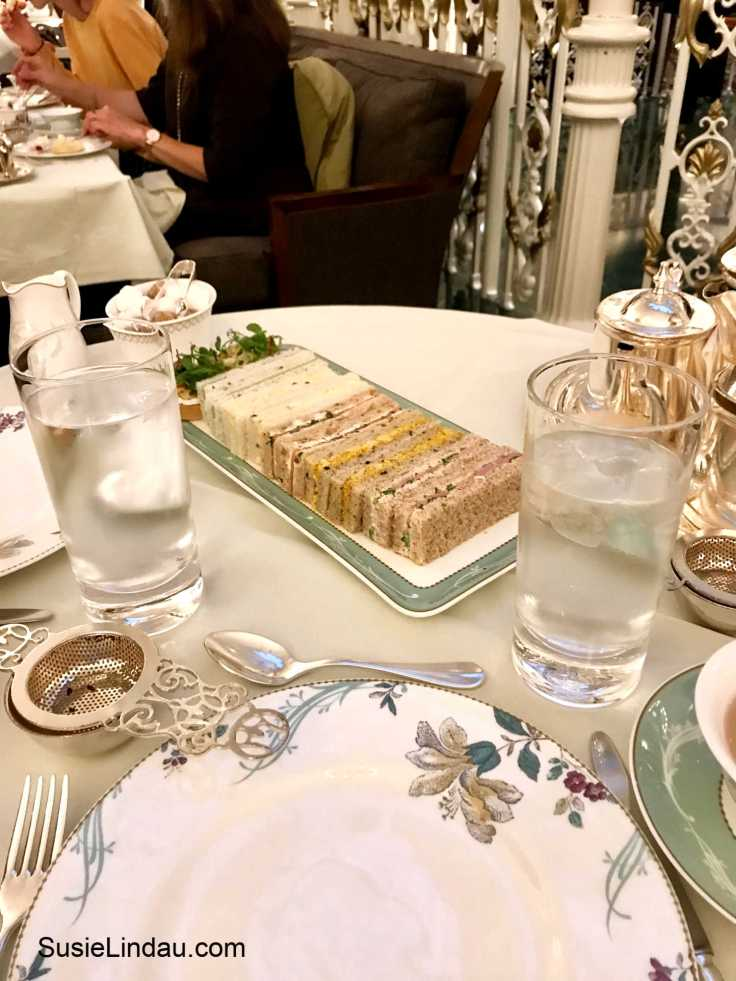 Savory sandwiches at the Savoy high tea in London. Click for photos and a review of the Play that Goes Wrong! Theater and entertainment, high tea in London, travel tips and advice, eye candy, food porn #theater #savoryhightea #londontravel #travelengland #traveltips