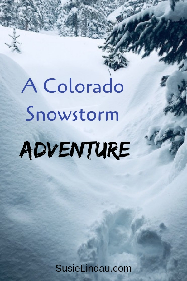 A Colorado SnowStorm Adventure. Pin for Pinterest with winter snowy, forest landscape