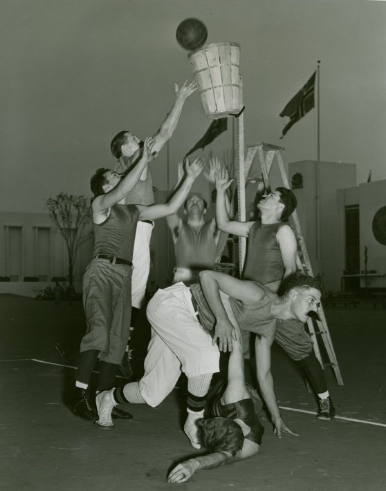 Old timey photo of basketball. Enter ESPN Tournament Challenge and maybe your bracket will win!