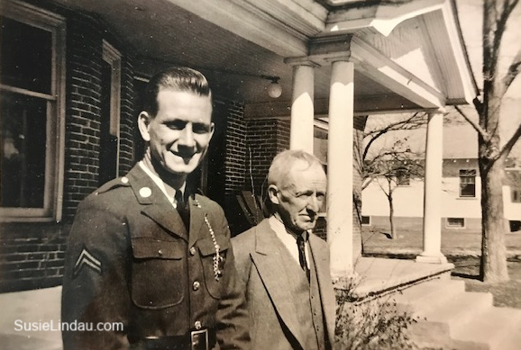 Jim Cram in uniform with his father.