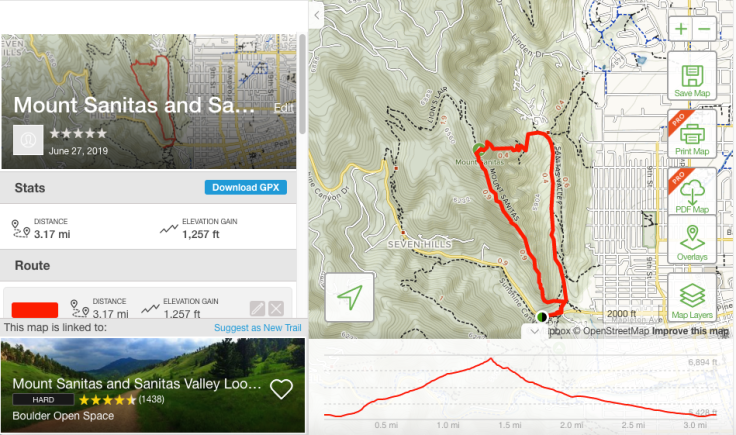 Trail map and info of Mount Sanitas in Boulder, Colorado