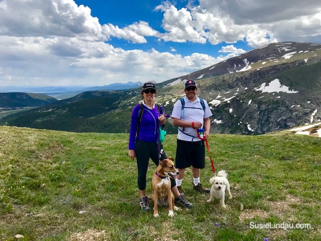 Lindau selfie on Hoosier Pass with pooches. Click for photos of this amazing hike a short distance from Breckenridge, Colorado!