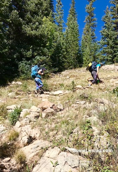 Backpacking up Woodland Trail Colorado