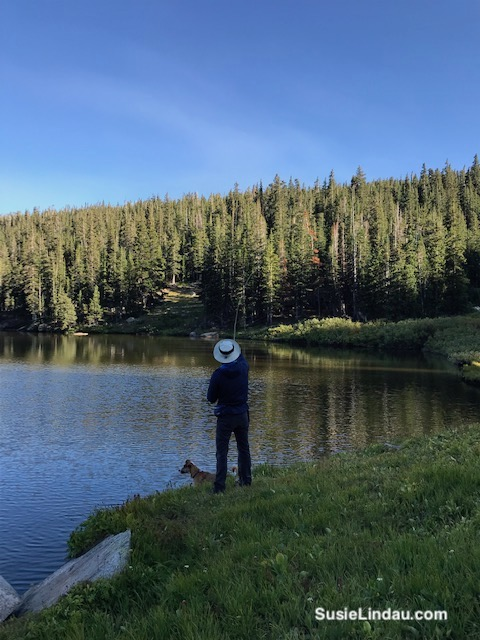 Fishing for trout at Woodland Lake.