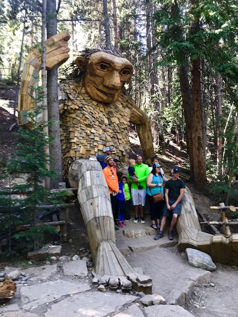 Hanging out with Isak Heartstone the Troll in Breckenridge! Click to find the location of this amazing new attraction! Things to do in Breckenridge | Art and Sculpture | Trolls | Short Breckenridge hikes | #Breckenridge #Trolls #Colorado #Sculptures #thingstodoinBreckenridge