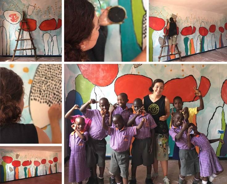 Meg Delagrange mural painting in Uganda, Africa